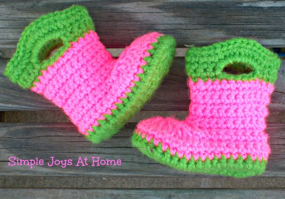 Crochet Pattern Baby Rain Boots : Green and Pink Crocheted Baby Rain Boots by SimpleJoysAtHome