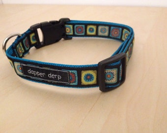 "Black & Multi Color 1"" Dog Collar"