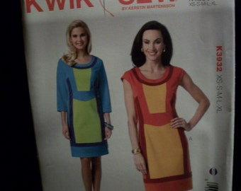 Kwik Sew K 3932 Misses (xs - xl) colorblock dress