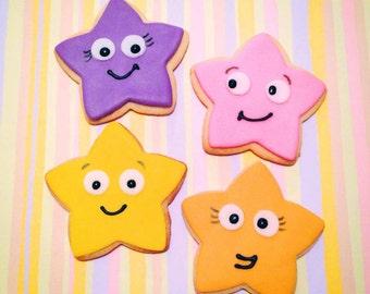 Dora Themed Star Sugar Cookies