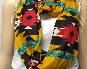Southwestern Golden Colorful   Infinity Scarf SUPER Soft Jersey Knit