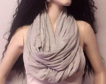Light Heather Gray  Infinity Scarf SUPER Soft Knit