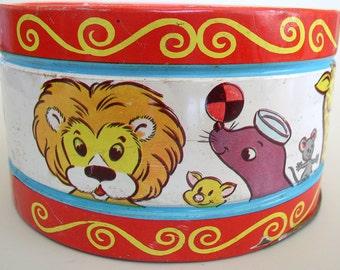 Vintage Tin Toy Drum - Circus Animals - J. Chein & Co.