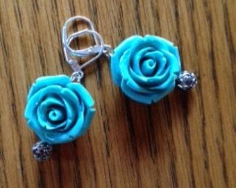 Turquoise rose earrings