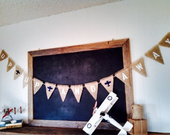 Up Up and Away Airplane Burlap Banner Childrens Baby Boy Nursery Triangle Flag Pennant Bunting Birthday Aviation Room Decor