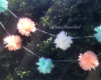 TISSUE PAPER GARLAND / birthday decor / wedding decorations / bridal shower / nursery decor / tissue poms / paper garland / pompoms