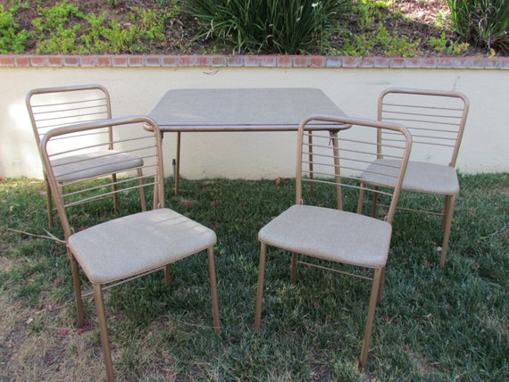 vintage cosco folding table and chairs 4 by midcenturyobsession. Black Bedroom Furniture Sets. Home Design Ideas