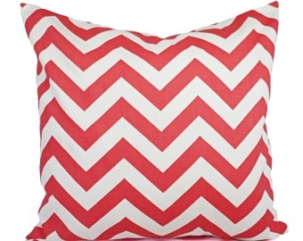 Two Chevron Pillow Covers Coral and White - Coral Pillows - Coral Throw Pillow - Coral Couch Pillow - Accent Pillow 14x14 16x16 18x18 20x20