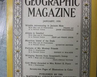 Vintage National Geographic Magazine January 1956, Volume CIX, Number One