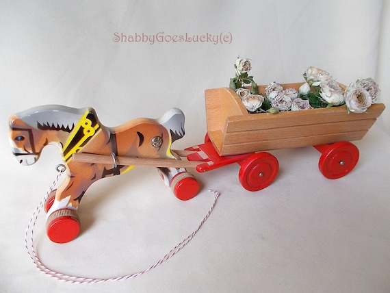 Toys That Were Made In The 1970 : German vintage wooden pull toy horse cart dray wagon made