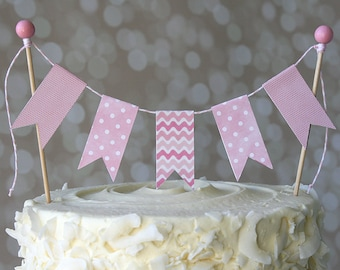Pink Wave/Pink Polka Dot Baby Shower Cake Bunting Pennant Flag Cake Topper-MANY Colors to Choose From!  Birthday, Shower Cake Topper