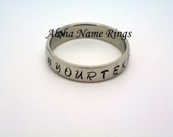 Hash Tag # Stainless Steel Ring Unisex Choose Your Own Text!! Hand Stamped ANR-R001-6