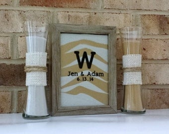 ON SALE - Personalized Rustic Barn Wood Wedding Sand Ceremony Frame Set with FREE Personalization, Unity Set, Sand Shadow Box Frame
