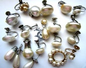 SALE *DESTASH Jewelry- Vintage 1950's / 1960's White and Champagne Faux Pearl Single Earrings- for Crafts, Repair, Repurpose