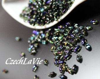 Czech Rizo Bead - Transparent Green/Cobalt Blue AB (22201)