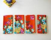 Handmade cotton napkins in Orange bunch (set of 4)