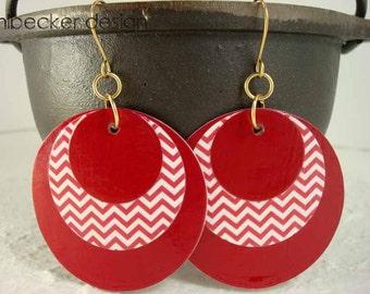 Carmine Red Zig Zag Paper Earrings