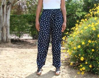 Vintage Navy Wide Leg Floral Pants