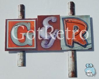 Original Photography // Vintage Hollywood Neon Sign //  Digital Art Print // 3 Letter Set // Includes Ampersand // Sign Post Kit