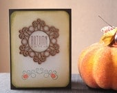Fall Greeting Card - Handcrafted Cards for Autumn - Wood Embellishment