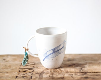 SALES- 50% DISCOUNT/ White ceramic mug hand painted with blue decor and feathers-0,4L/ Ceramic cup/ tea cup/ coffee mug