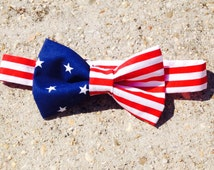 Stars and Stripes Bow tie American Flag Bow Tie - clip on - toddler, child, adult - Novelty Tie