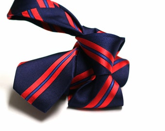 Silk Tie (3 inch) in Stripes with Navy Blue and Red