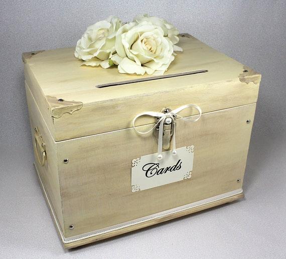 Ivory Wooden Wedding Card Box Trunk Vintage Shabby Chic – Wooden Card Box Wedding