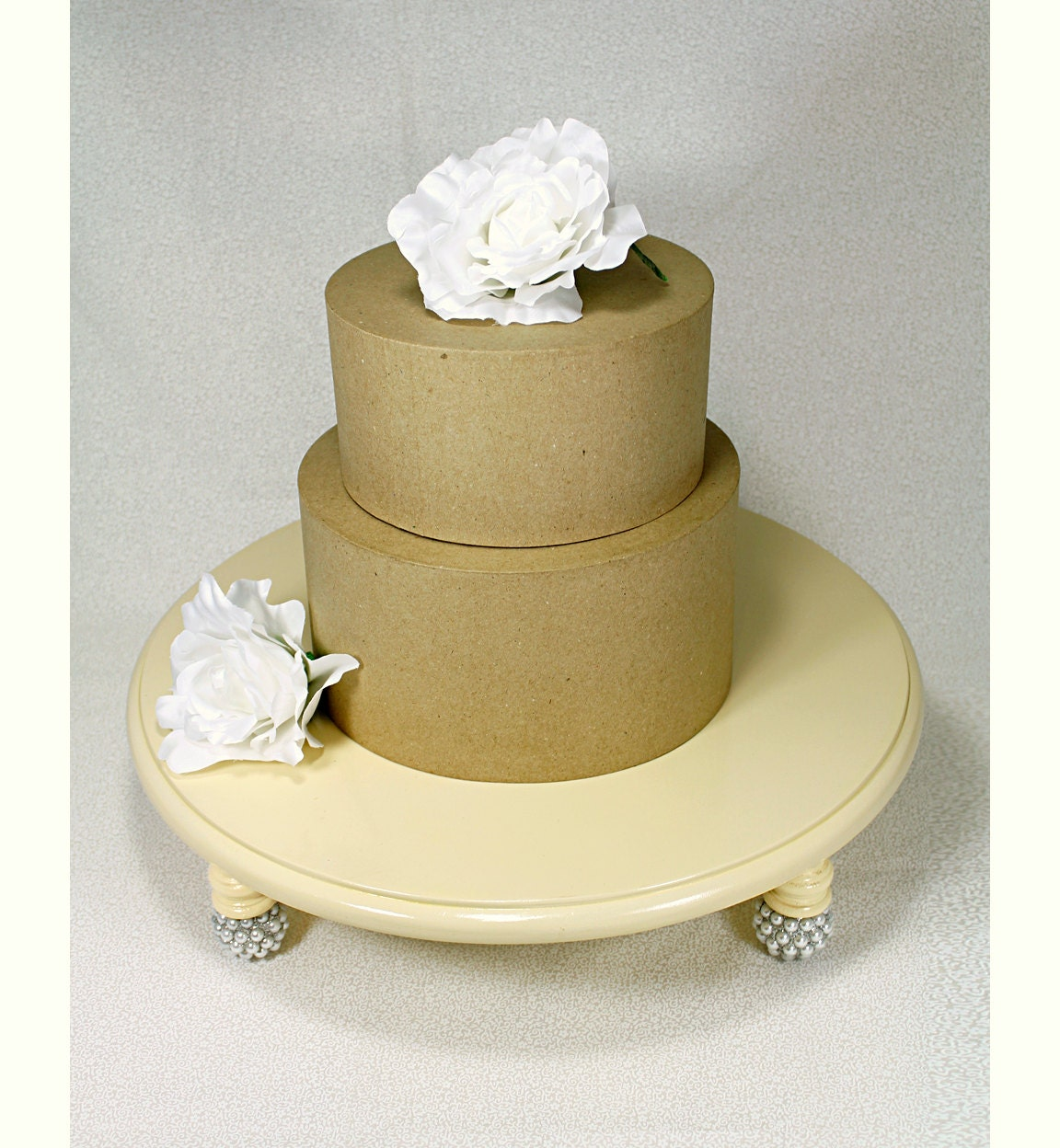 Ivory Silver Pearl Round Wedding Cake Stand by DazzlingGRACE