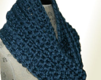 Infinity Scarf Cowl Denim Blue Long Chunky Crochet Hand Made in USA Knit Soft Bulky Yarn