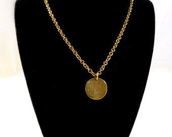 """Bronze round The Will pendant on a 18"""" long chain"""