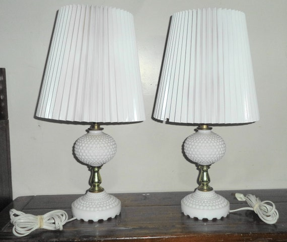 2 Vintage Matching Hobnail White Milk Glass Bedroom End Table