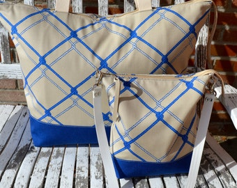 Free US Ship Nautical Coastal Summer Navy Royal Blue White Ivory Nautica Rope Motif  Shoulder Cross Body Purse and Beach Tote Bag Set Two