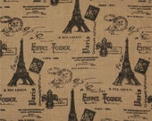 Burlap By The Yard, Paris Eiffel Tower, Jute Burlap Fabric, French Country Farmhouse, Shabby Cottage Home. (1) Yard 36'' Length 46'' Width
