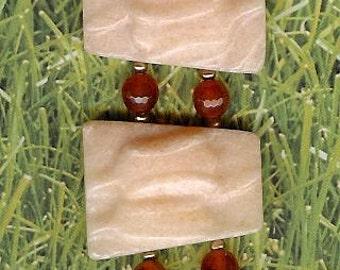 Bracelet - Peach Aventurine, Carnelian, Freshwater Pearls, Sterling Silver