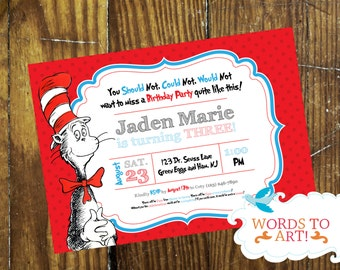 CUSTOM Dr. Seuss Birthday Party Invitations -- Made To Order -- Customizable