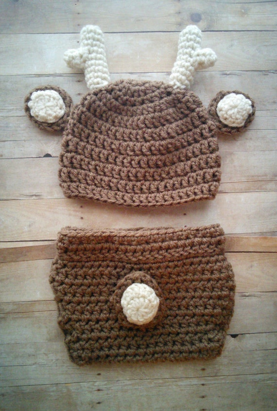 Free Crochet Deer Diaper Cover Pattern : Crochet Deer Hat and Diaper Cover Set by HookMeUpPropShop ...