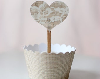 MADE TO ORDER Burlap-style Heart with Lace Cupcake Toppers- set of 12