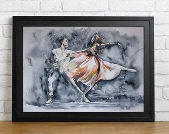 Watercolor Print - Black is white. Ballet dancers print.