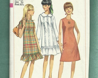 Vintage 1966 Simplicity 6890 A-Line Dress with Peter Pan  Collar & Hemline Ruffled Tier  Size 9JP