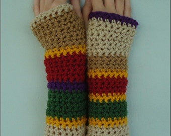 4th Doctor Who Scarf Inspired Armwarmers