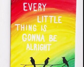 Three little birds, Bob Marley wall art, Canvas painting, Reggae art, Rasta poster