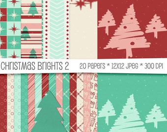 Christmas Brights Digital Paper Pack - Scrapbooking Cards Invitations - 20 High Resolution Printable JPEGs - 300 DPI - 12x12 - CU OK