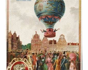 Vintage Adverting Card - Hot Air Balloon 1786 - Awesome Collector's Item