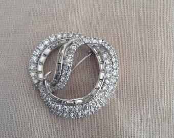 60s rhinestones on metal brooch