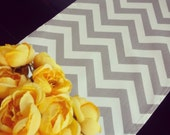 Table Runner-Gray Grey Storm Chevron ZigZag Premier Prints- Weddings, Showers, Home Decor- Pick a Size or CUSTOM