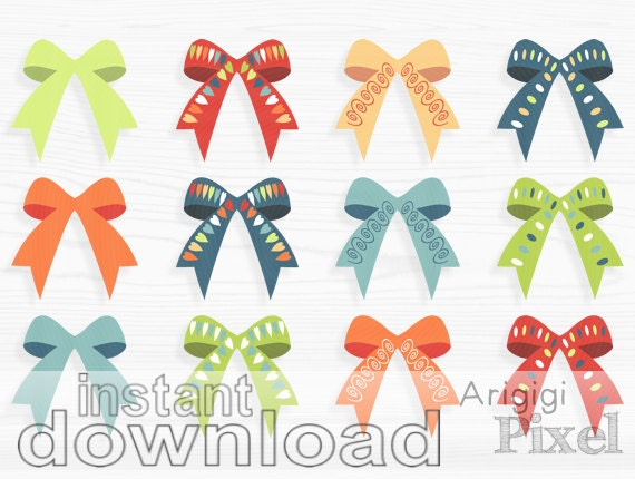 Bows clip art set, gift bow tie clipart, digital elements for scrapbooking card making, spring colors photoshop clip art download