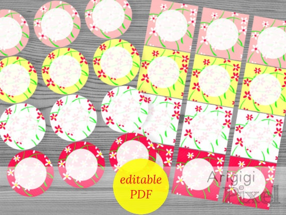 editable circle tags 2.5 in square gift tag printable flowers spring set of 24 tags download editable PDF file Word file