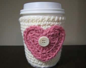 Crochet cup sleeve,TeaCozy, Rustic Spring Decor Mothers Day Gift,  Coffee Cup Cozy,  Pink, Hot Chocolate,  Boho, Cup Cozy, Coffee Sleeve