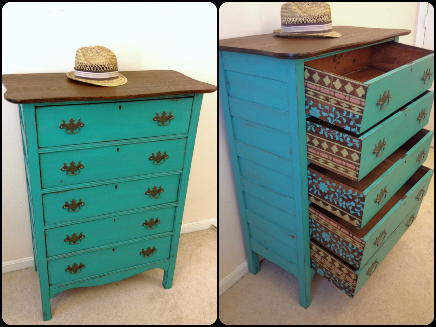 turquoise bedroom furniture rustic turquoise and wood antique dresser with stenciled 13614